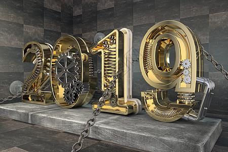 2019机械金属立体字图片