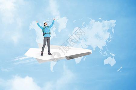 纸飞机上旅行的人图片