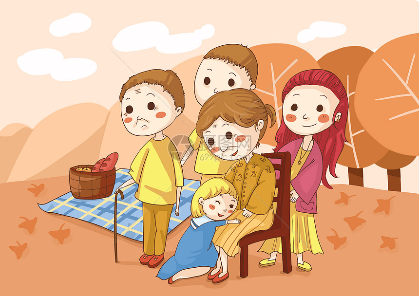 重阳节与家人一起野餐图片