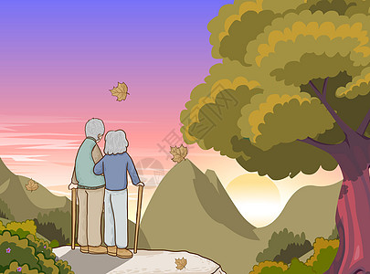 重阳节两位老夫妻老人登山顶看夕阳手绘插画图片