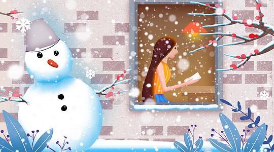 冬季小雪女孩坐在窗前阅读插画图片