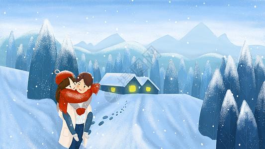 唯美小雪插画图片