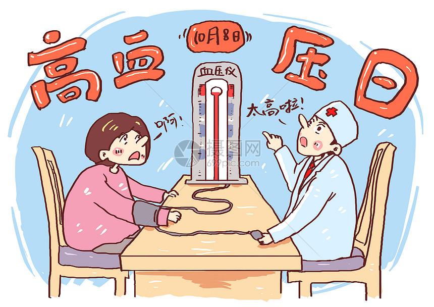 高血压日漫画图片