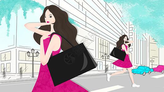 购物街时尚女孩图片
