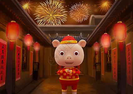 拜年的小猪图片