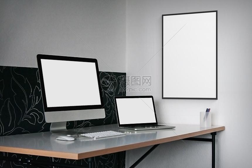 现代桌面电脑样机图片