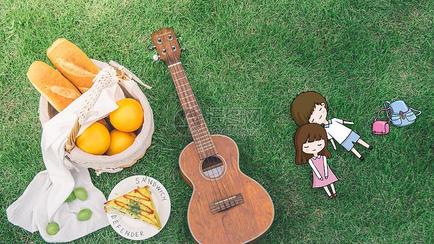 野餐的小情侣图片