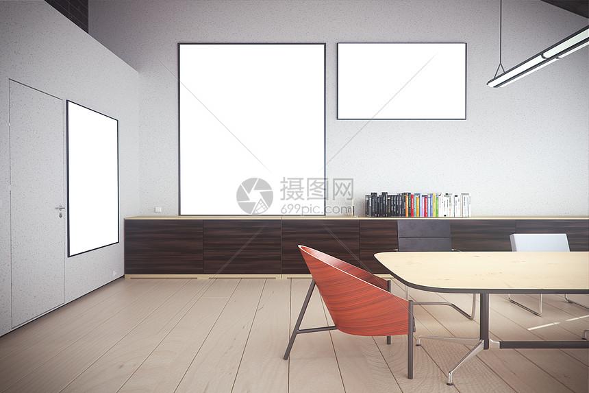 现代办公室挂画样机图片