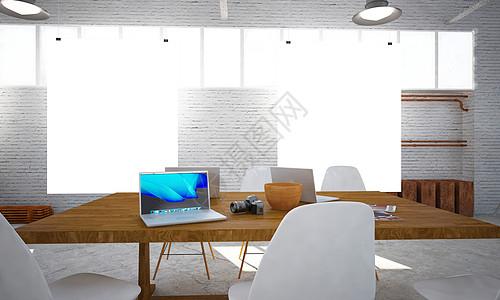 现代办公桌墙面样机图片