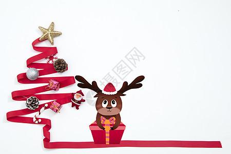 圣诞树麋鹿图片