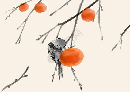 柿子和鸟图片