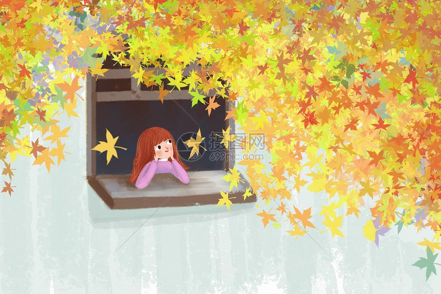 秋天女孩图片