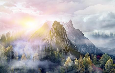 唯美梦幻山脉场景图片