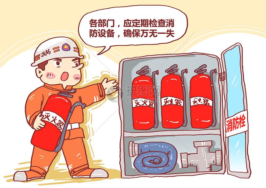 定期检查消防设备漫画图片