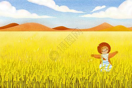 无框画素材下载_风吹麦浪插画图片下载-正版图片400075739-摄图网