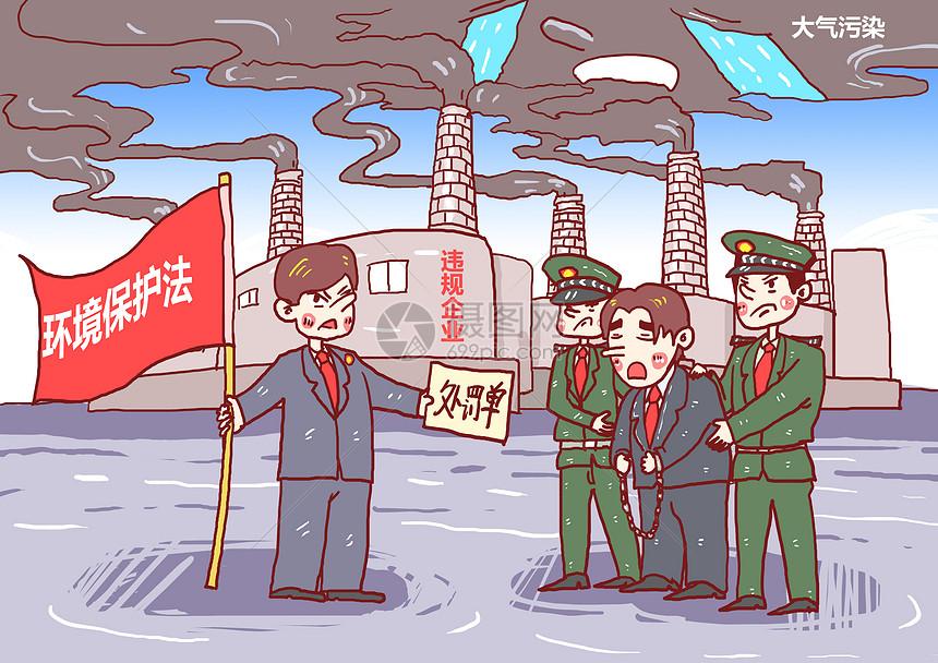 大气污染违规企业处罚漫画图片