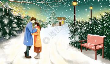 街边情侣小雪图片