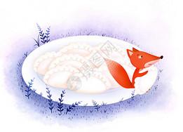 饺子美食插画图片
