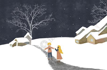 大雪插画图片