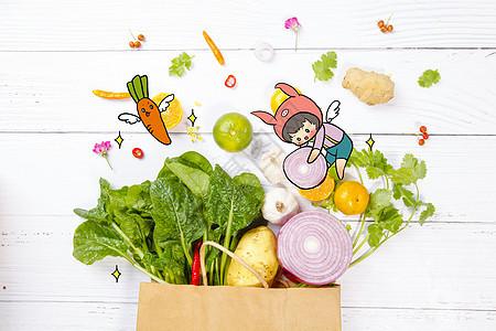 创意缤纷蔬菜和卡通猪猪图片