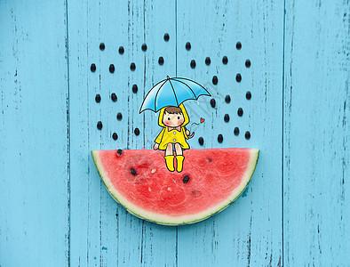 下雨天想你图片