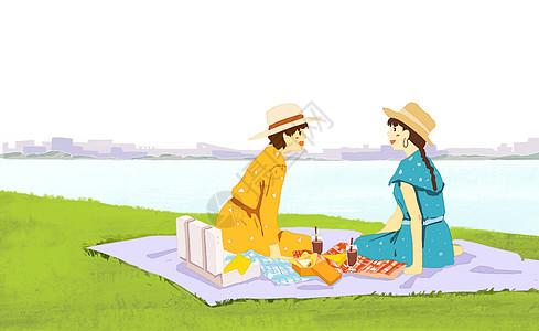 闺蜜野餐图片