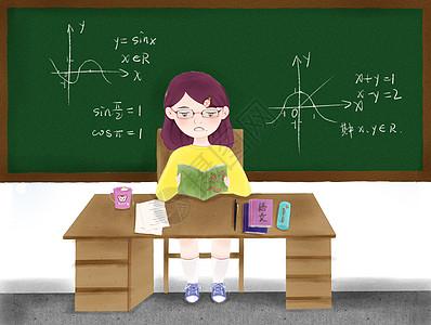努力学习的小女孩图片
