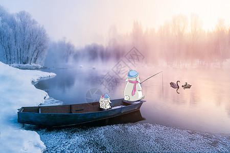冬日垂钓图片