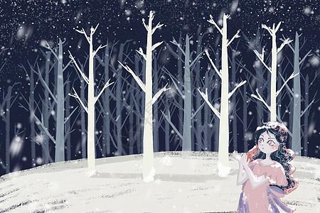 大雪立冬唯美森林雪景夜景背景图片