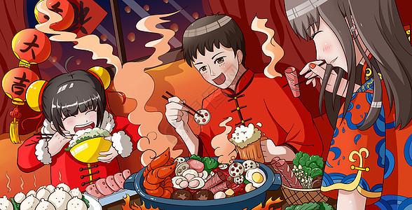 吃年夜饭图片