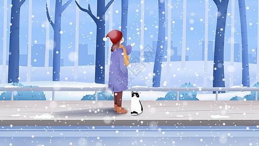 冬天室外插画图片