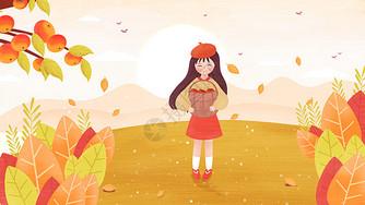 霜降女孩摘柿子插画图片