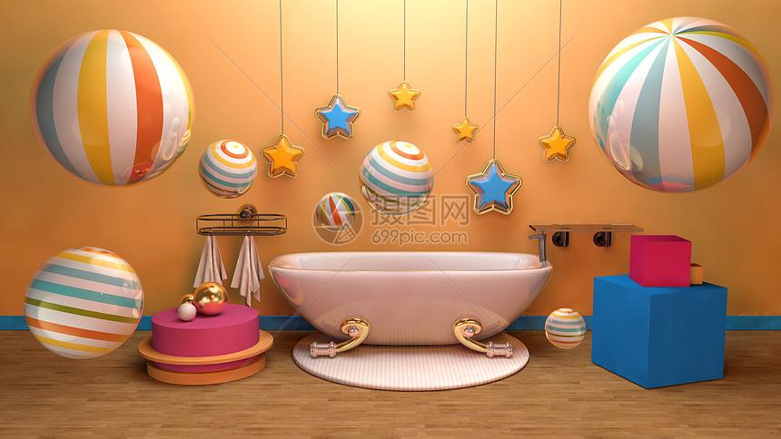 浴缸电商背景图片