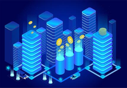 25D城市科技金融立体插画图片