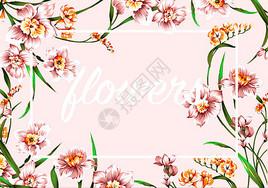 手绘兰花边框背景分层图片