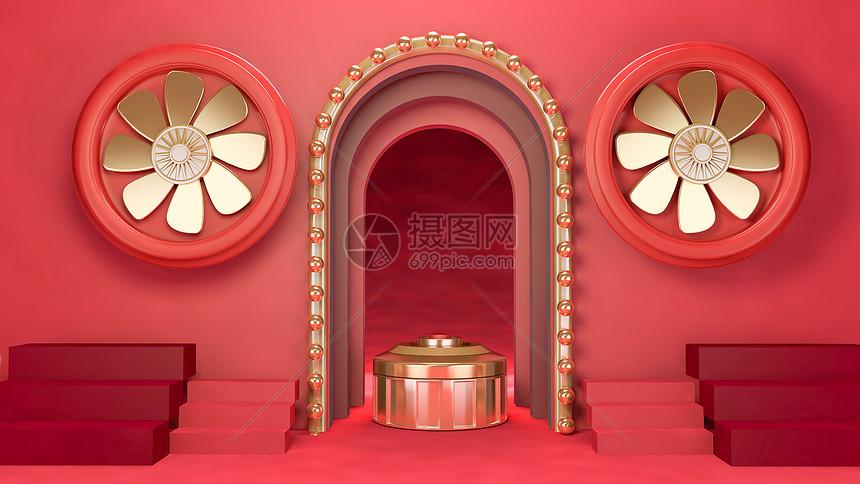 红色门背景图片