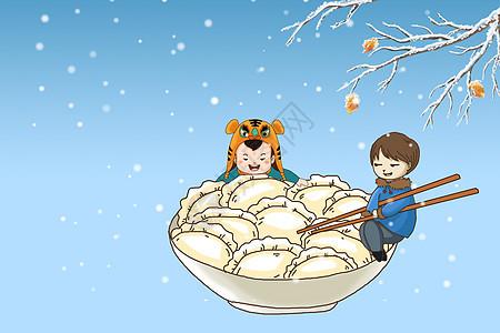 吃饺子插画图片