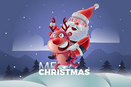 圣诞节老人和麋鹿图片