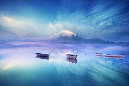 梦幻湖泊场景图片