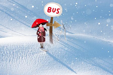 雪中打伞的女孩图片