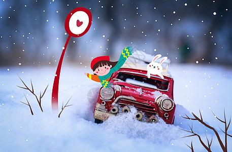 冬天雪中红色的汽车图片