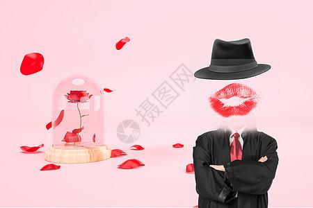 创意红唇背景图片