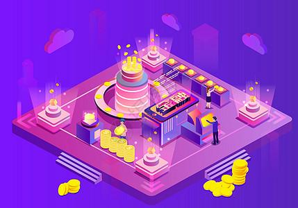 25D手机金融立体插画图片