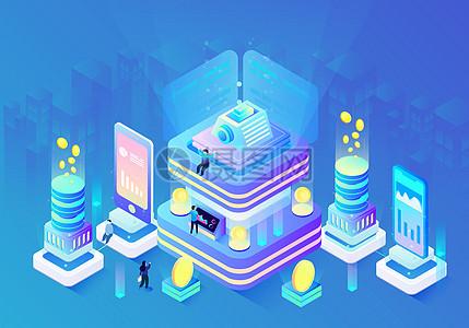 25D科技金融立体插画图片