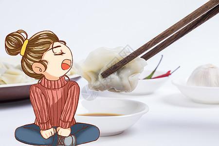 张嘴吃饺子的女孩图片