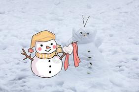 创意摄影插画   感恩节 送温暖的雪人拟人卡通小人图片