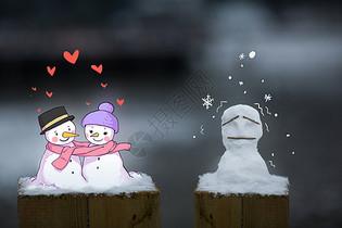单身狗卡通雪人图片