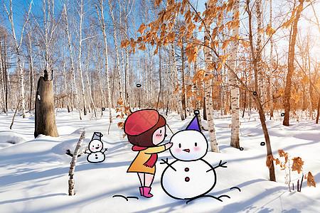 堆雪人创意摄影插画图片