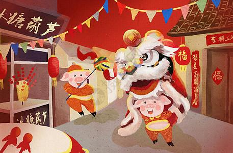 猪年舞狮图片