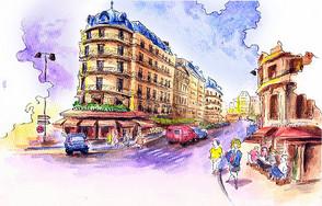 城市街风景水彩手绘图片